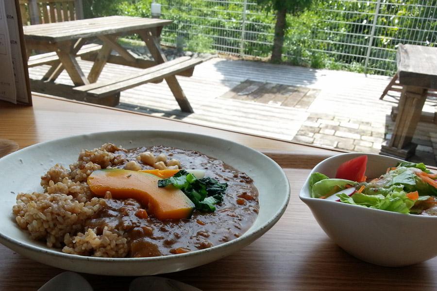 粟カフェのキーマカレーと窓からの眺め